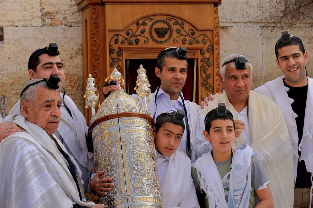 Stock Photo: 1848-569656 Jewish boy carrying the Torah scroll from the shrine at the Wailing Wall, Western Wall, to a table, Bar Mitzvah celebration, Arab quarter, Jerusalem, Israel, Middle East