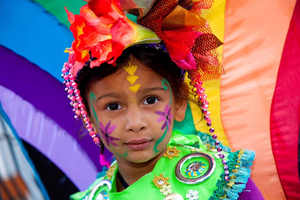 Stock Photo: 1848-569765 Little girl with a colourful costume at Notting Hill Carnival, costume parade, Notting Hill, London, England, United Kingdom, Europe