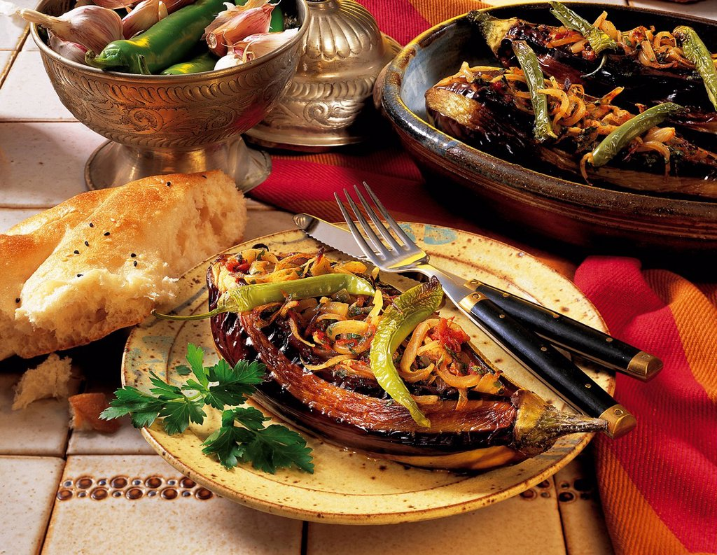 Aubergines with spicy filling, Turkey, recipe available for a fee : Stock Photo