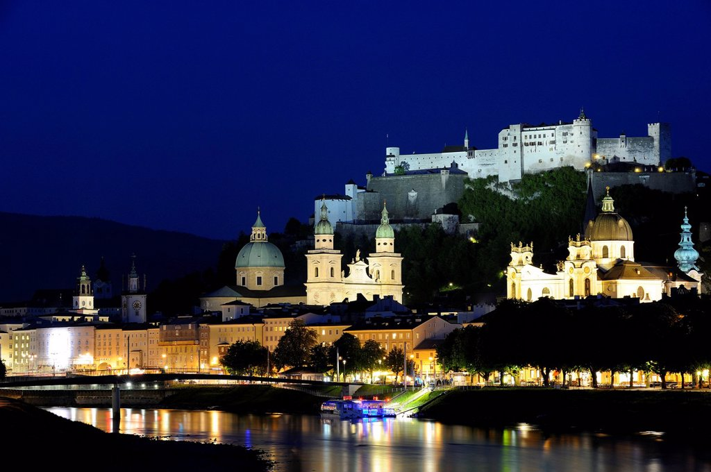 Historic town centre with the Collegiate Church, Cathedral and Hohensalzburg Fortress, Salzach River, Salzburg, Austria, Europe, PublicGround : Stock Photo