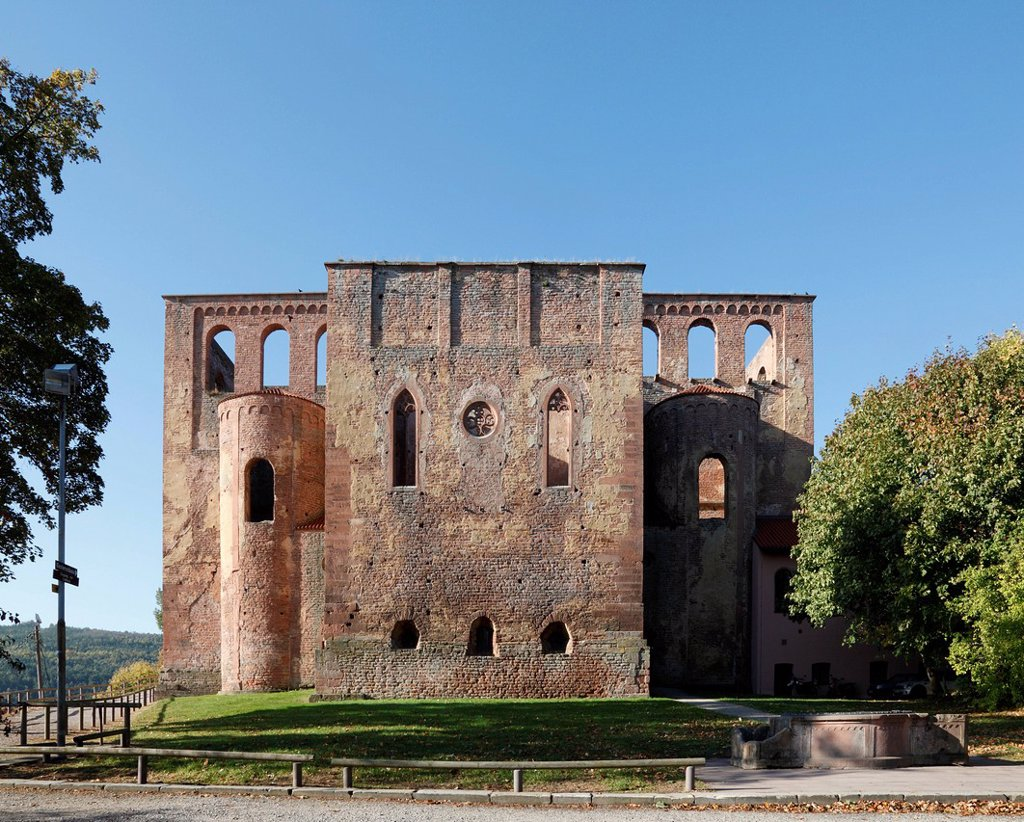 Ruins of the Romanesque basilica of Kloster Limburg an der Haardt Monastery, former Benedictine abbey, Bad Duerkheim, Pfalz Forest, Rhineland_Palatinate, Germany, Europe : Stock Photo