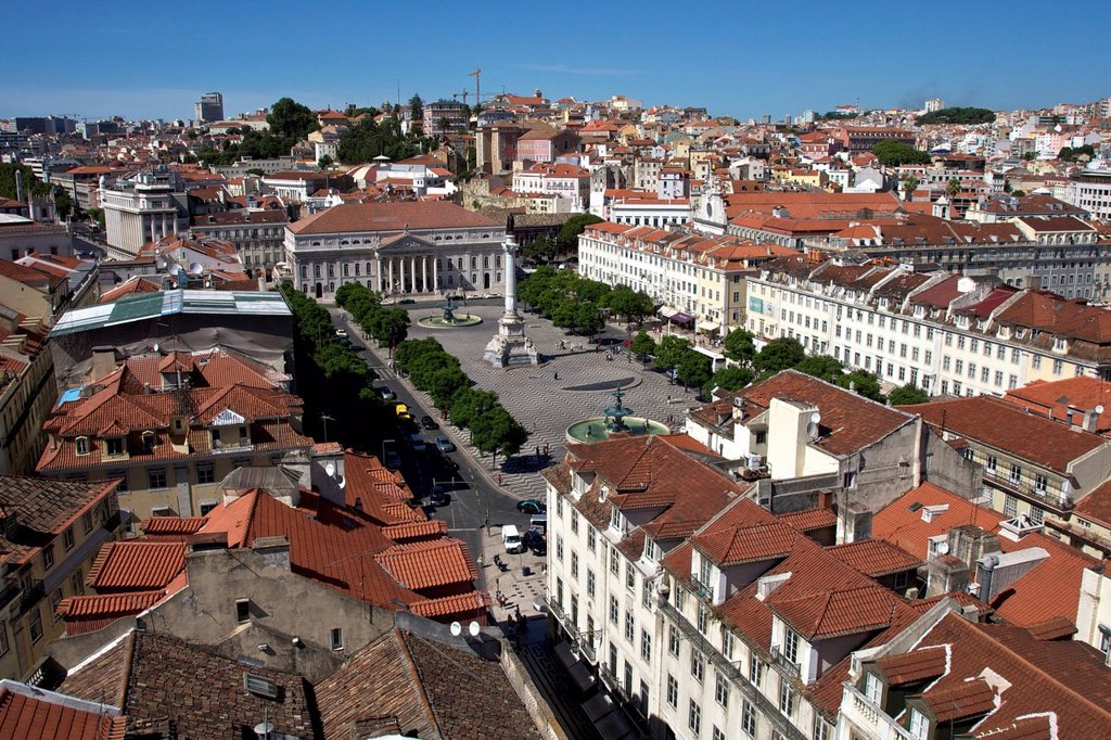 Stock Photo: 1848-570916 View from the Santa Justa lift, Elevador de Santa Justa, to Rossio Square, Praça de Dom Pedro IV, National Theatre, Teatro Nacional, Baixa quarter, Lisbon, Portugal, Europe