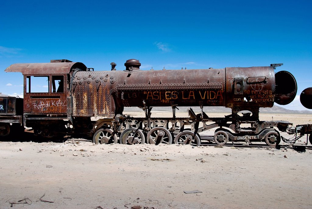 The train cemetery, Salar de Uyuni or salt desert of Uyuni, Bolivia, South America : Stock Photo