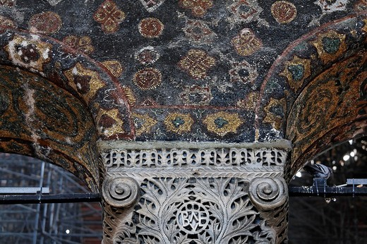 Stock Photo: 1848-57103 Richly decorated capital and ceiling mosaic of the South Gallery, Hagia Sophia, Aya Sofya, Sultanahmet, Istanbul, Turkey