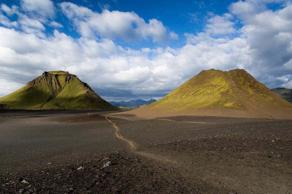 Stock Photo: 1848-571341 Trail through the Black Lava Desert, with moss_covered Hattfell Mountain along the Laugavegur hiking trail, Álftavatn_Emstrur, Highland, Iceland, Europe