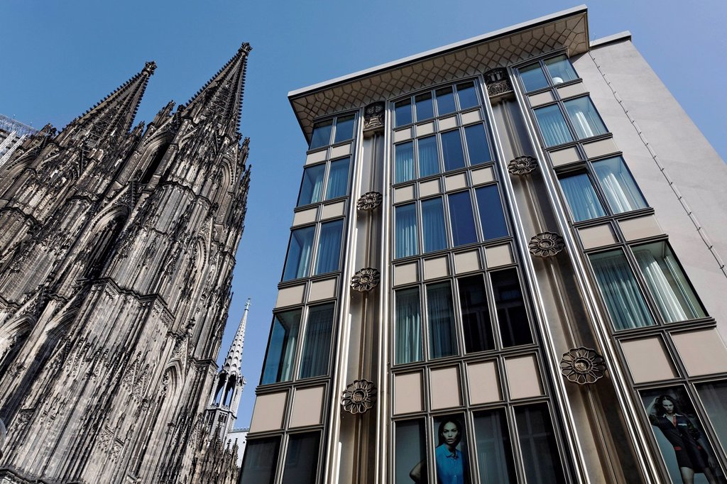 Blau_Gold_Haus building, also known as Blaugoldhaus, built in the 1950s, revitalized, Cologne, North Rhine_Westphalia, Germany, Europe : Stock Photo