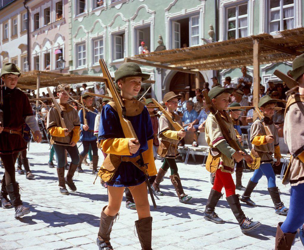 Stock Photo: 1848-571643 Taenzelfest pageant, Kaufbeuren, Ostallgaeu, Bavaria, Swabia, Bavaria, Germany, Europe, PublicGround