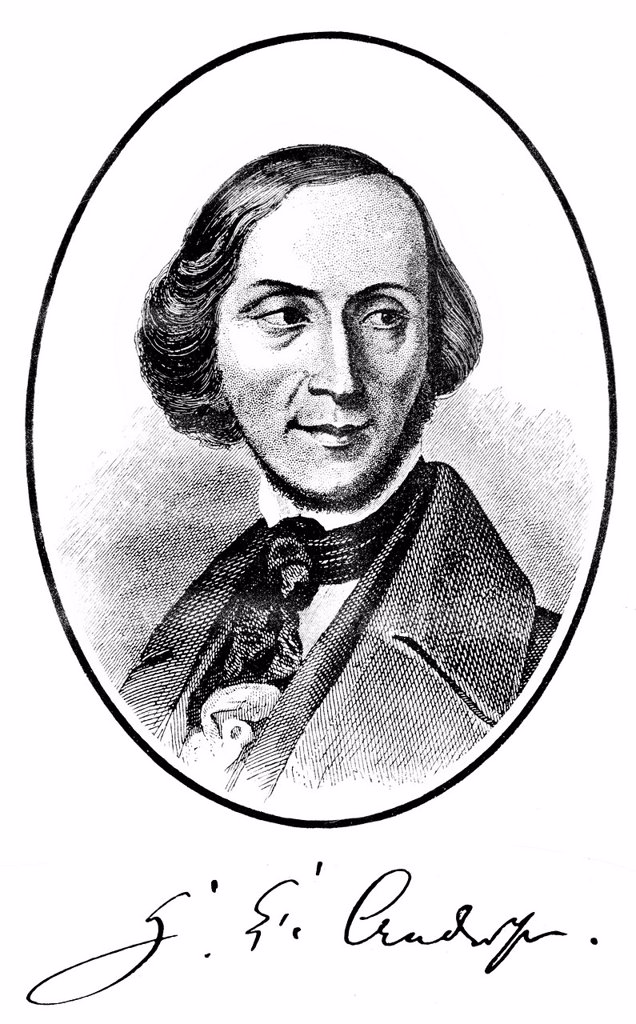 Historical print, portrait of Hans Christian Andersen, 1805 _ 1875, a Danish poet and writer, from Bildatlas zur Geschichte der Deutschen Nationalliteratur, the Illustrated Atlas of the History of German National Literature, by Gustav Koennecke, 1887 : Stock Photo