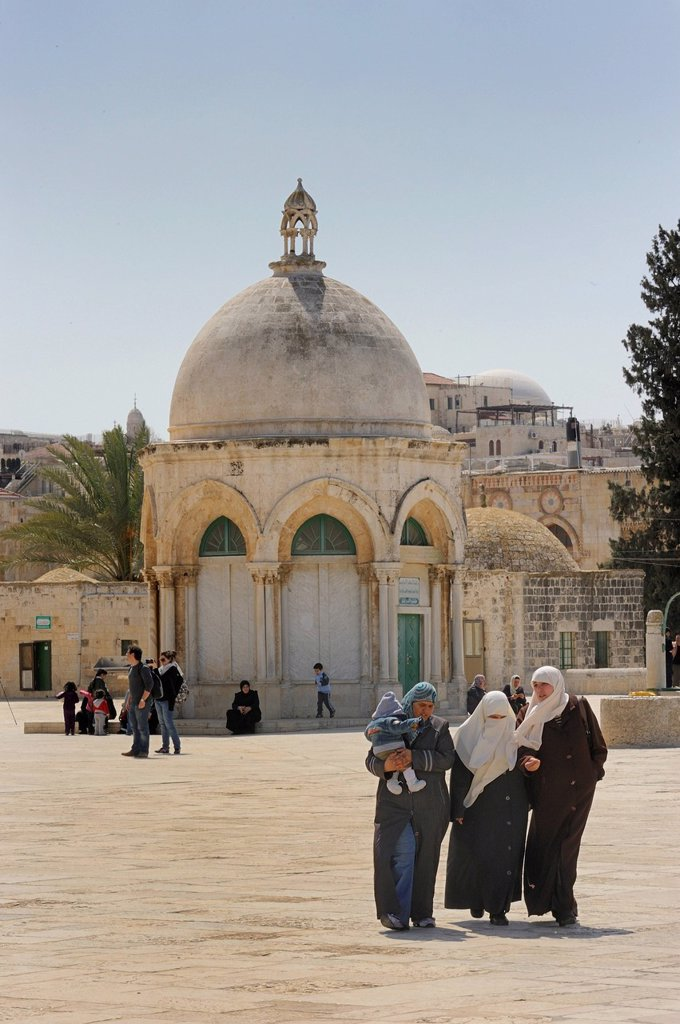 Stock Photo: 1848-572280 Israeli Palestinian women in front of the Ascension Church with its Byzantine dome on the Temple Mount, Muslim Quarter, Old City, Jerusalem, Israel, Middle East