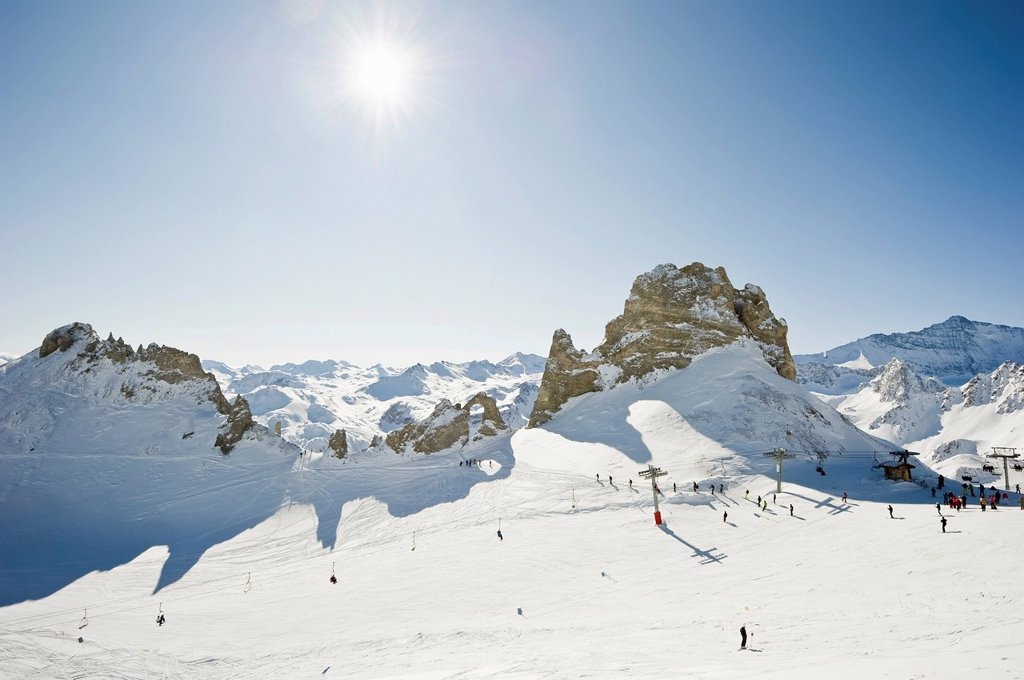 Snow_covered mountain landscape, Aiguille Percee, Tignes, Val d´Isere, Savoie, Alps, France, Europe : Stock Photo