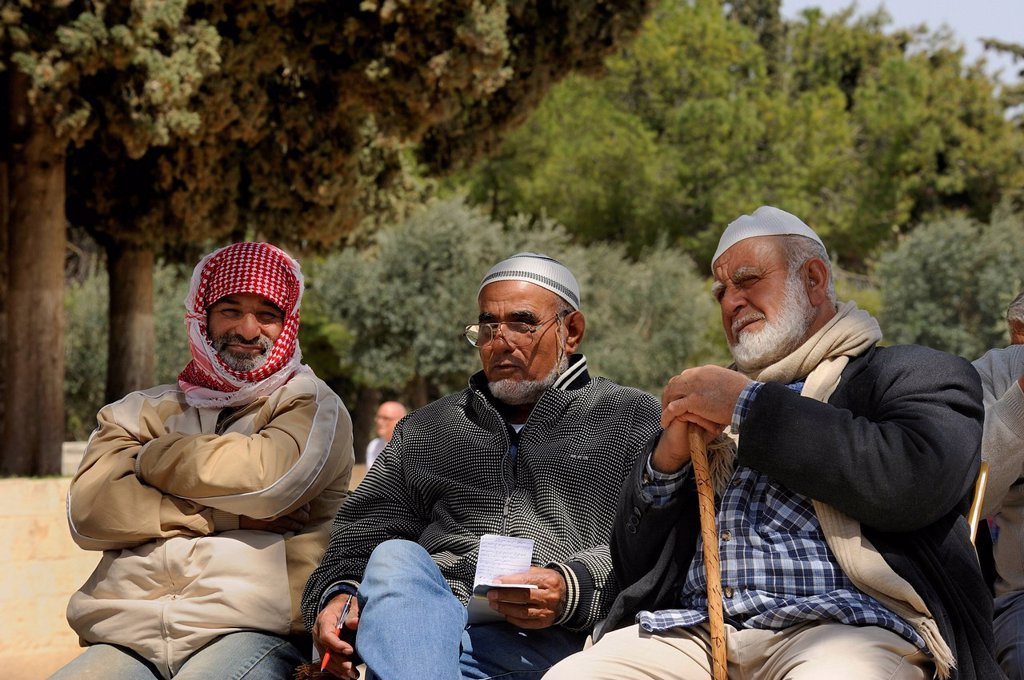 Stock Photo: 1848-573103 Three Israeli Palestinians sitting on a bench on the Temple Mount, Muslim Quarter, Old City, Jerusalem, Israel, Middle East