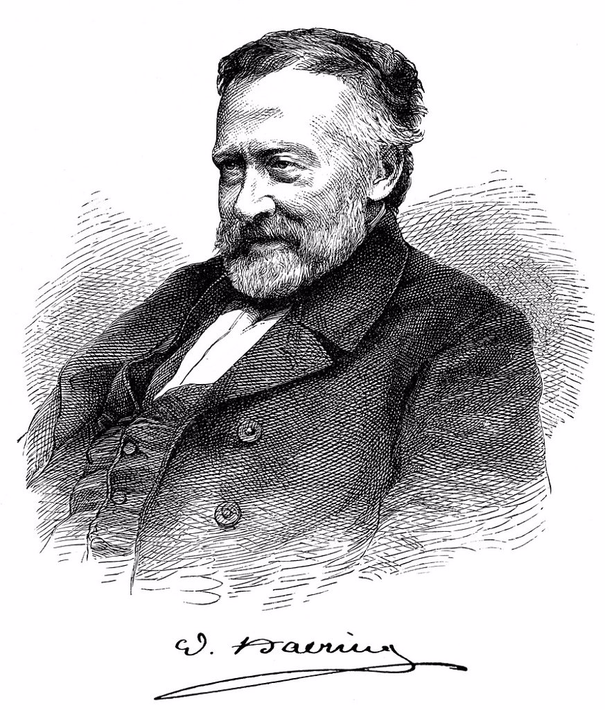 Historical print, 1872, portrait of Georg Wilhelm Heinrich Haering or Willibald Alexis, 1797 _ 1871, a German writer, from Bildatlas zur Geschichte der Deutschen Nationalliteratur, the Illustrated Atlas of the History of German National Literature, by Gus. Historical print, 1872, portrait of Georg Wilhelm Heinrich Haering or Willibald Alexis, 1797 _ 1871, a German writer, from Bildatlas zur Geschichte der Deutschen Nationalliteratur, the Illustrated Atlas of the History of German National Litera : Stock Photo