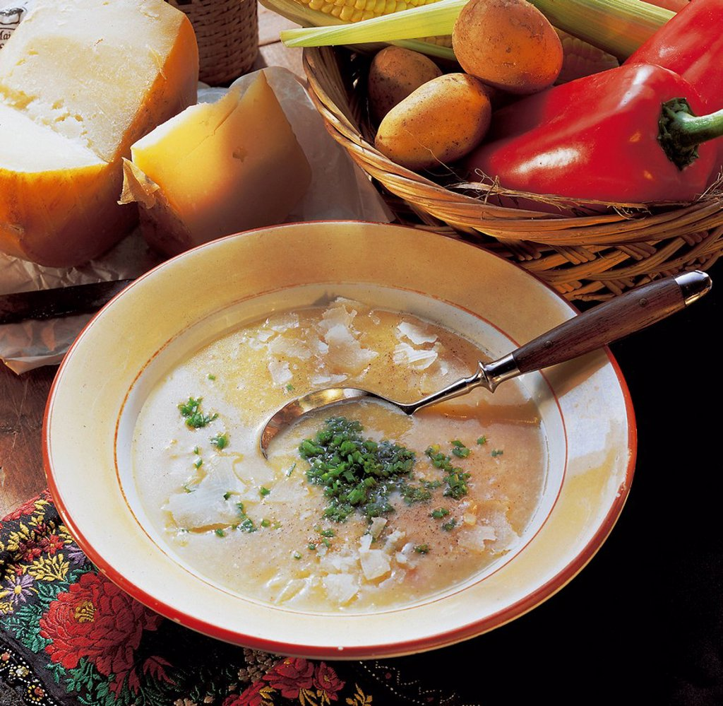 Stock Photo: 1848-573357 Moldavian potato and cheese soup with onions, carrots and sheep´s milk cheese, Moldova, recipe available for a fee