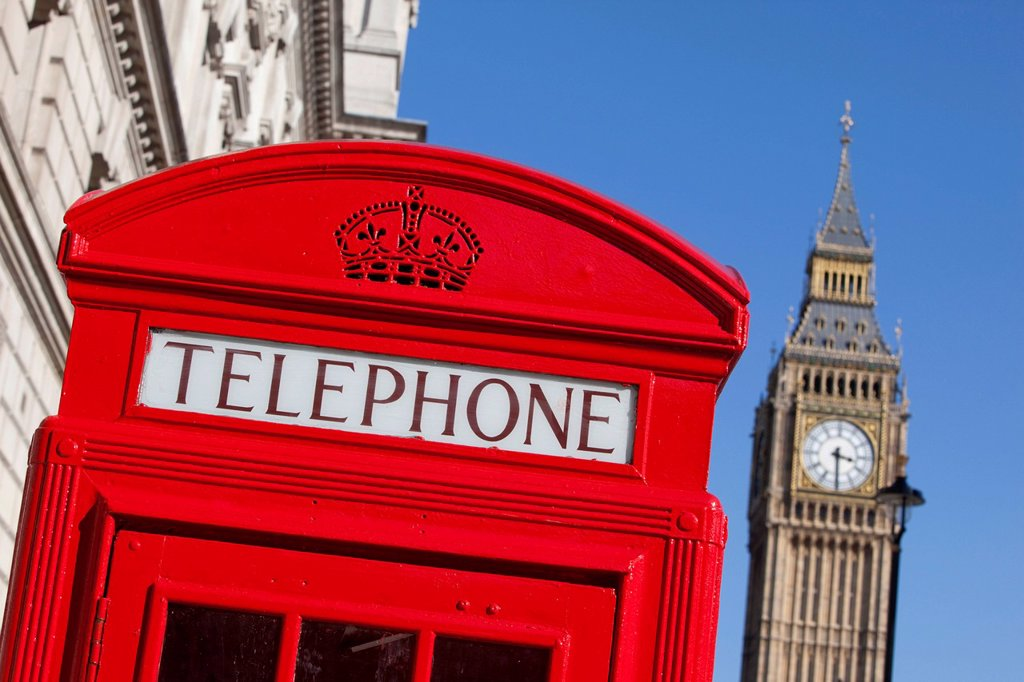 Stock Photo: 1848-574072 Red telephone booth near Big Ben, London, England, United Kingdom, Europe