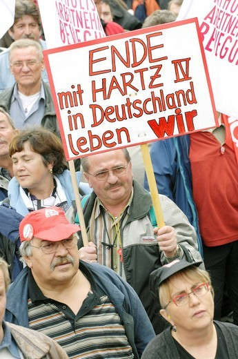 Union protest against the cuts in social welfare _ Sign Stopp the Hartz 4 _ we are living in Germany : Stock Photo
