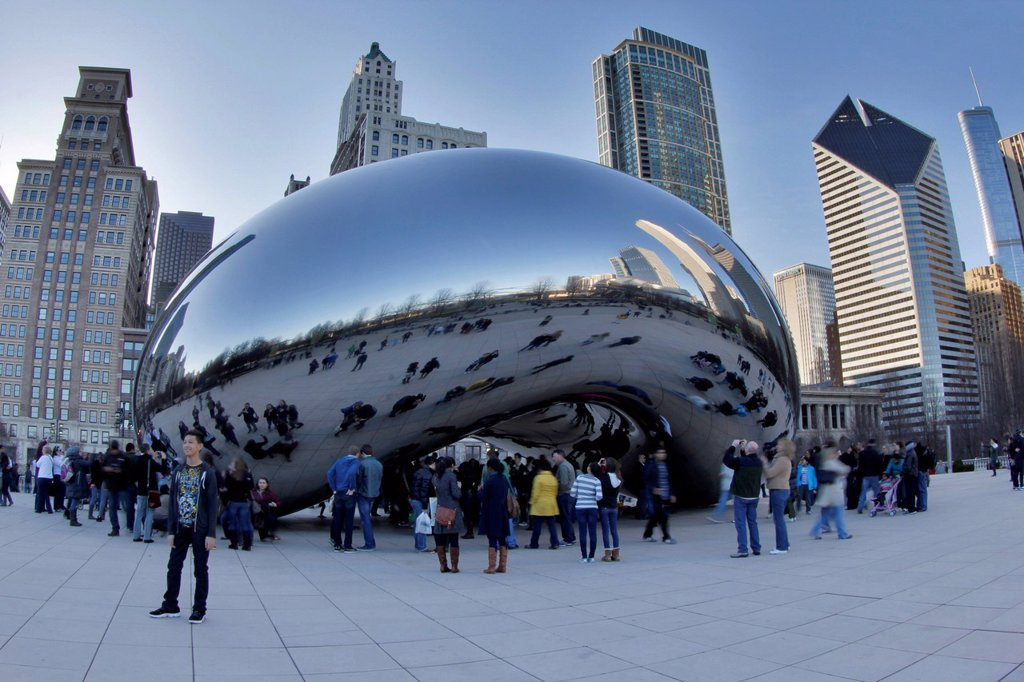 Stock Photo: 1848-574529 Cloud Gate in the evening, Chicago, Illinois, USA, North America