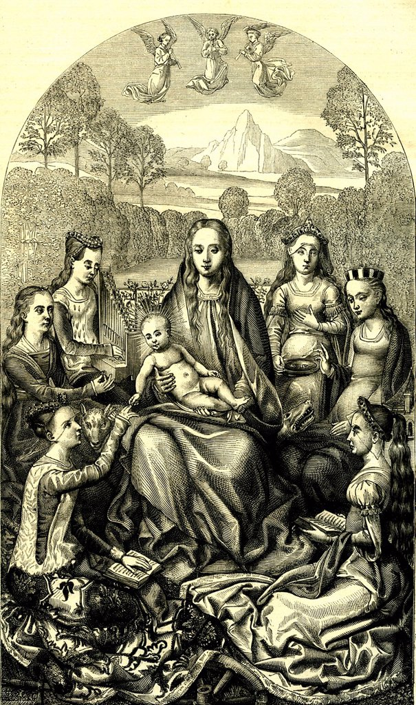 Stock Photo: 1848-574747 Holy Catherine´s Wedding, historical engraving by Hans Memling, 1874