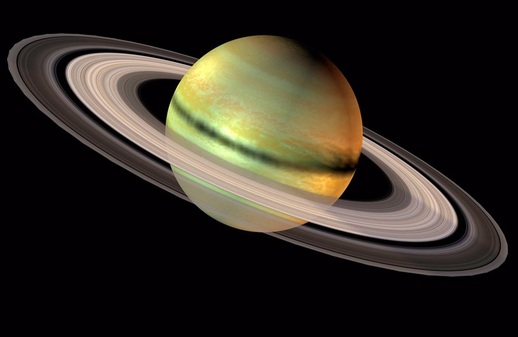 The Saturn is the second largest planet of the solar system and on the sixth position. : Stock Photo