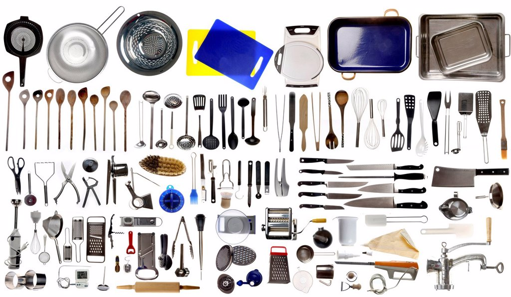 Various kitchen appliances, cooking tools and utensils : Stock Photo