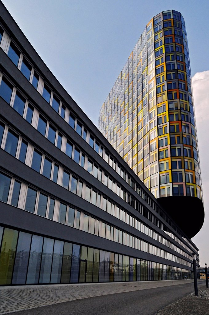The new ADAC headquarters, German automobile club, Hansastrasse street 23_25, Munich, Bavaria, Germany, Europe : Stock Photo