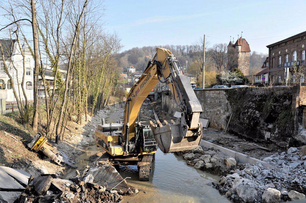 Stock Photo: 1848-575190 Demolition of the bridge crossing the Josefsbach stream, March 2012, due to the transformation of Josefsbach stream for the State Garden Show, Landesgartenschau 2014, Schwaebisch Gmuend, Baden_Wuerttemberg, Germany, Europe