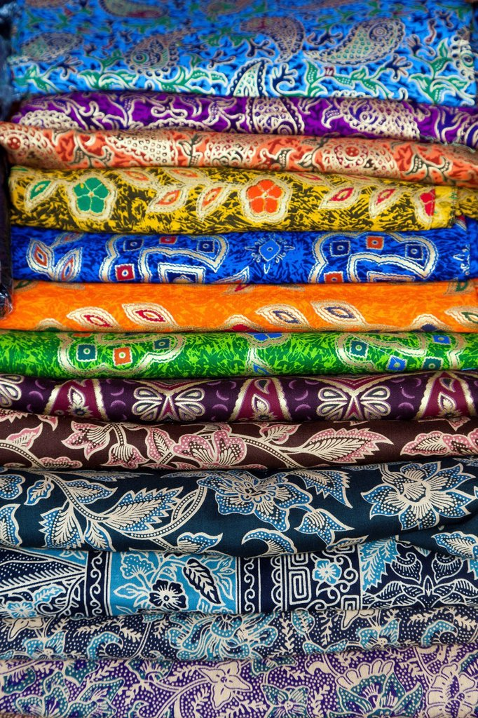Stock Photo: 1848-575272 Fabrics and woven products, for sale on a market, artists´ village of Ubud, central Bali, Indonesia, Southeast Asia