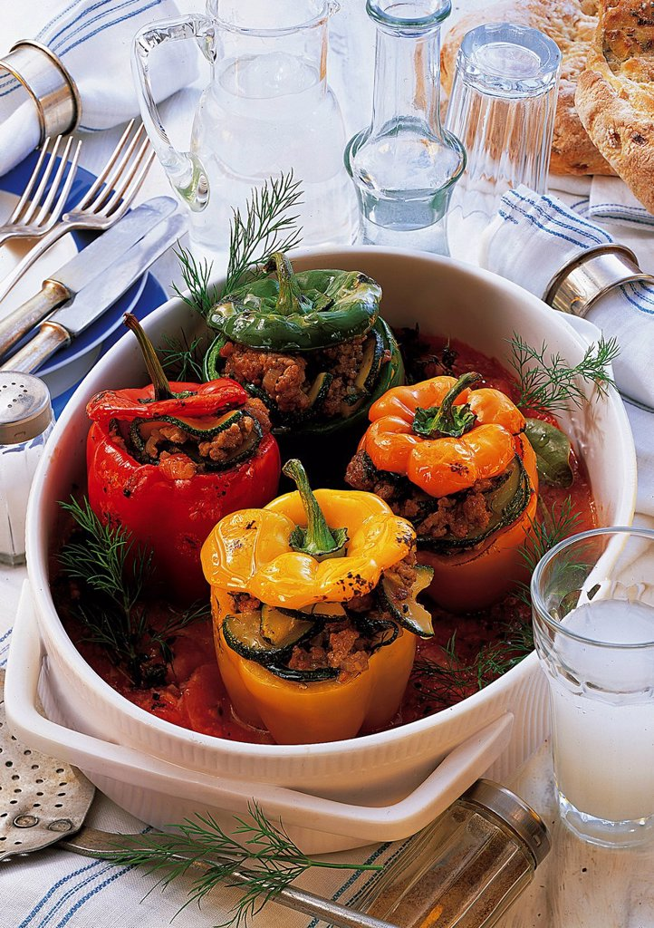 Greek stuffed peppers, Greece, recipe available for a fee : Stock Photo