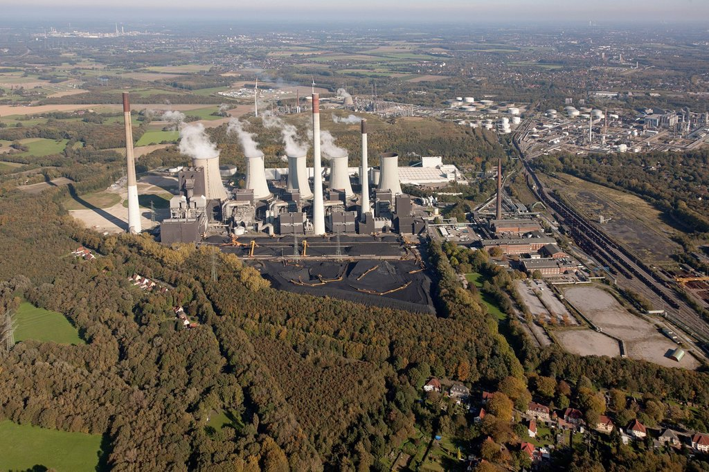 Stock Photo: 1848-575891 Aerial view, Scholven power plant, E.ON coal_fired power plant, Gelsenkirchen_Buer, Ruhr Area, North Rhine_Westphalia, Germany, Europe