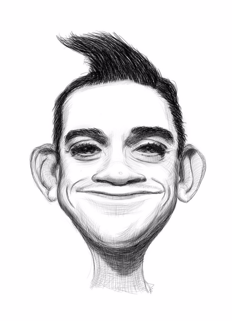 Caricature of Robbie Williams : Stock Photo