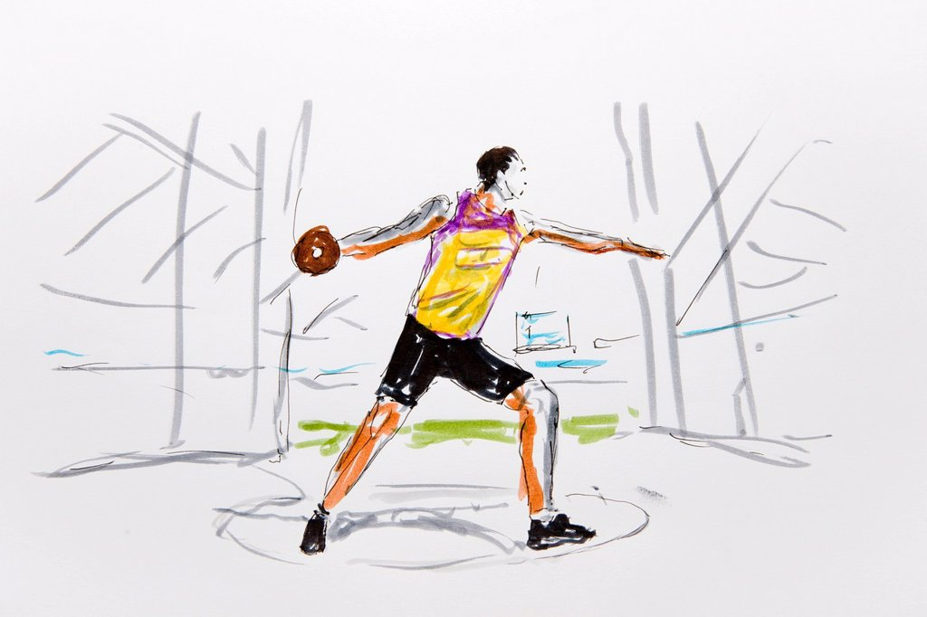 Stock Photo: 1848-576113 Discus thrower, coloured drawing, by artist Gerhard Kraus, Kriftel, Germany