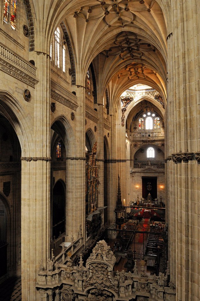 Interior of the gothic cathedral of Salamanca, Unesco World Heritage Site, Castilla y Leon, Castile and Leon, Spain, Europe : Stock Photo