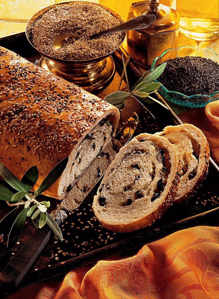 Bread with olives, Cyprus, recipe available for a fee : Stock Photo
