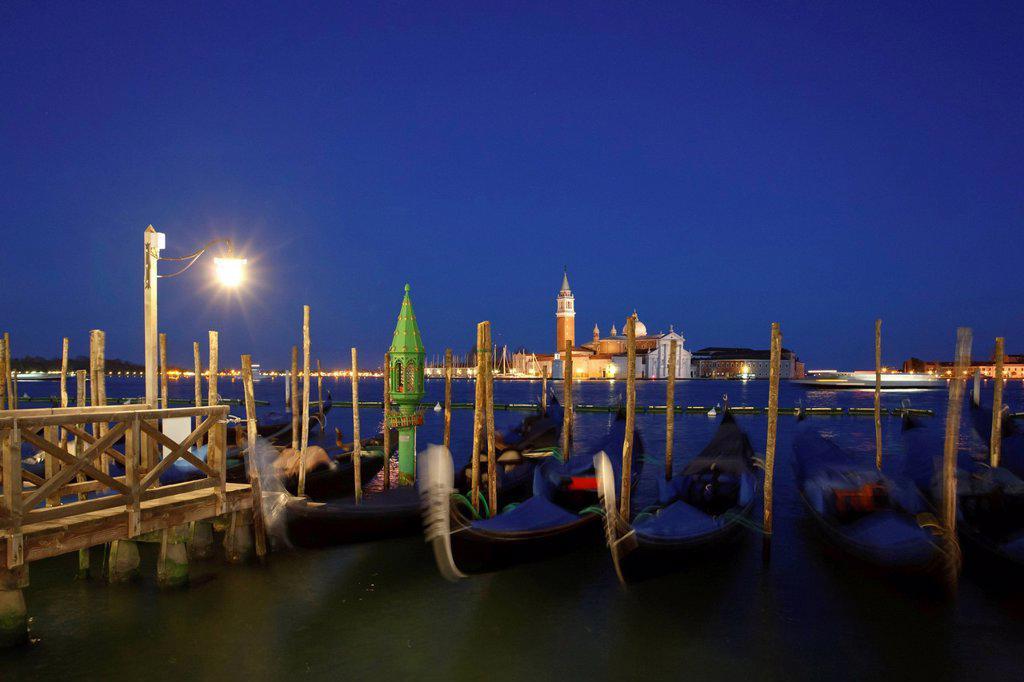 Stock Photo: 1848-576737 San Giorgio Maggiore, gondolas, promenade of Riva degli Schiavoni, Venice, Italy, Europe