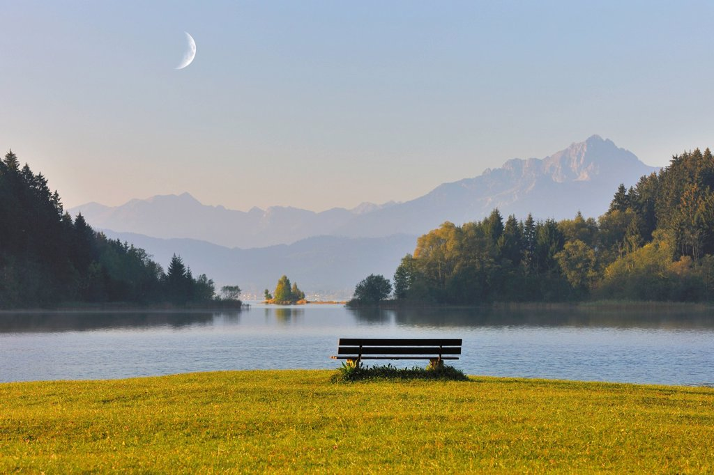 Stock Photo: 1848-576904 Bench on the shore of Lake Forggensee, morning mood with the Moon, Allgaeu, Bavaria, Germany, Europe, composing
