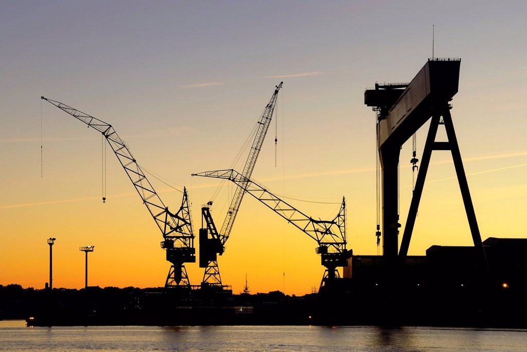 Stock Photo: 1848-576951 Cranes of the HDW shipyard, Howaldtswerke_Deutsche Werft GmbH, in cooperation with Thyssen_Krupp Marine Systems AG, morning mood, Kiel, Schleswig_Holstein, Germany, Europe