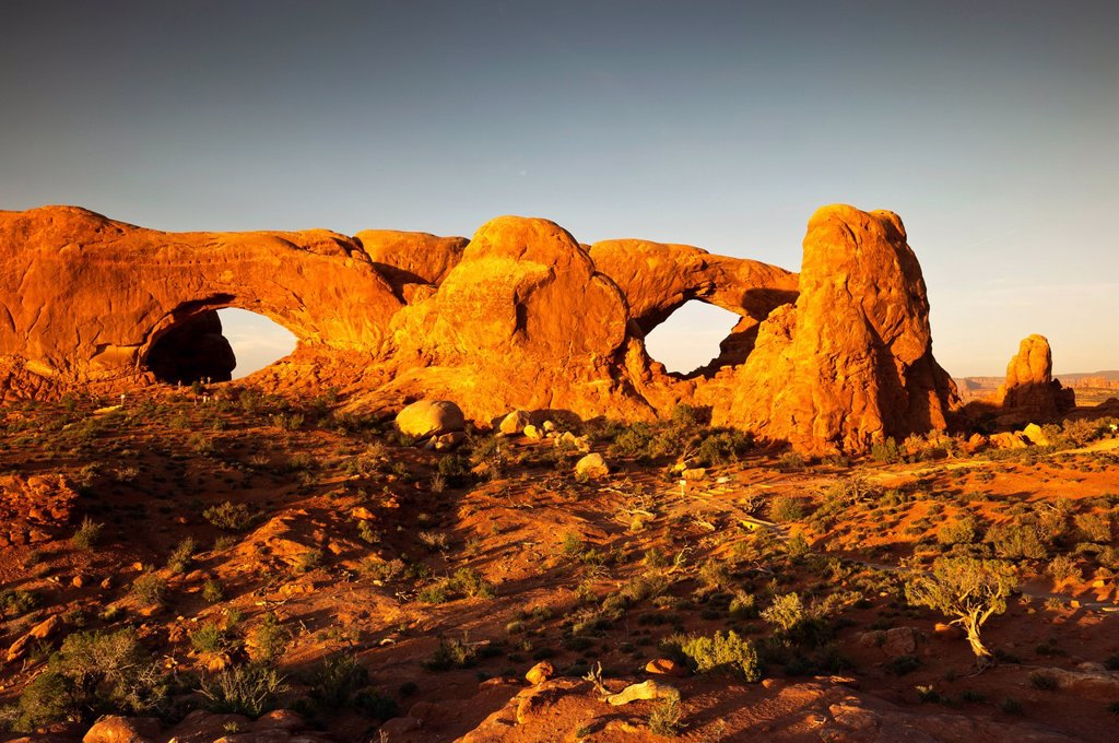 North Window and South Window arches, The Windows Section, Arches National Park, Utah, USA : Stock Photo