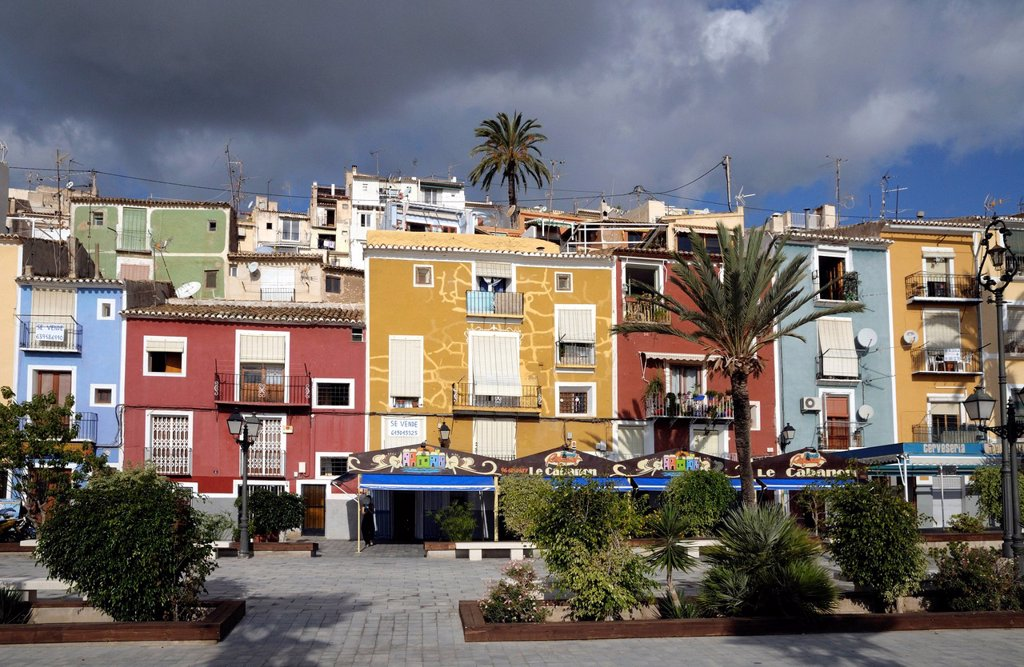 Stock Photo: 1848-577324 Colourful houses of Villajoyosa, Costa Blanca, Spain, Europe