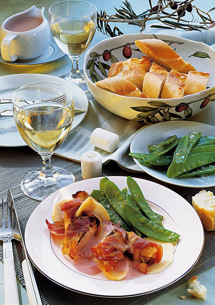 Rabbit filet with bacon wraps, France, recipe available for a fee : Stock Photo