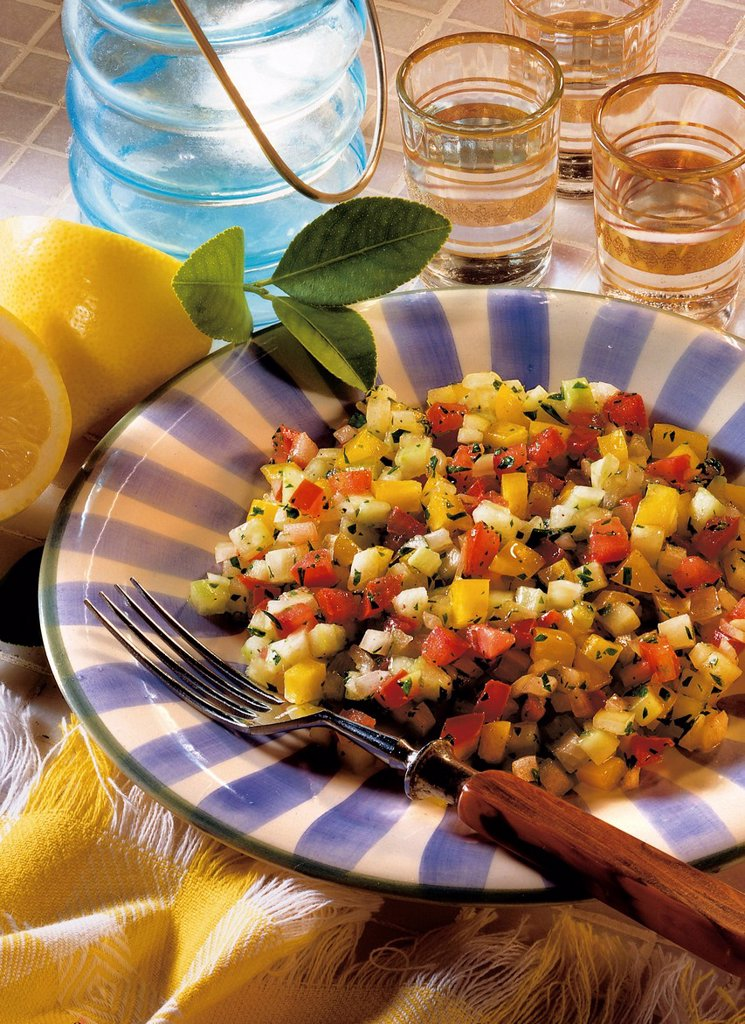 Stock Photo: 1848-577727 Israeli salad, Israel, recipe available for a fee
