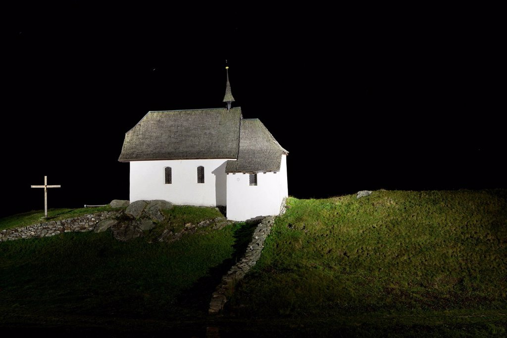 Stock Photo: 1848-577773 Maria zum Schnee chapel, illuminated at night, Bettmeralp, Valais, Swiss Alps, Switzerland, Europe, PublicGround