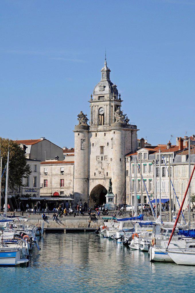 Stock Photo: 1848-577867 Boats, Porte de la Grosse Horloge, city gate, port, promenade, La Rochelle, Charente_Maritime, Poitou_Charentes, France, Europe, PublicGround