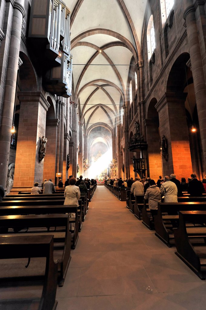 Interior view, Worms Cathedral, Cathedral of St Peter, built between 1130 and 1181, Worms, Rhineland_Palatinate, Germany, Europe : Stock Photo