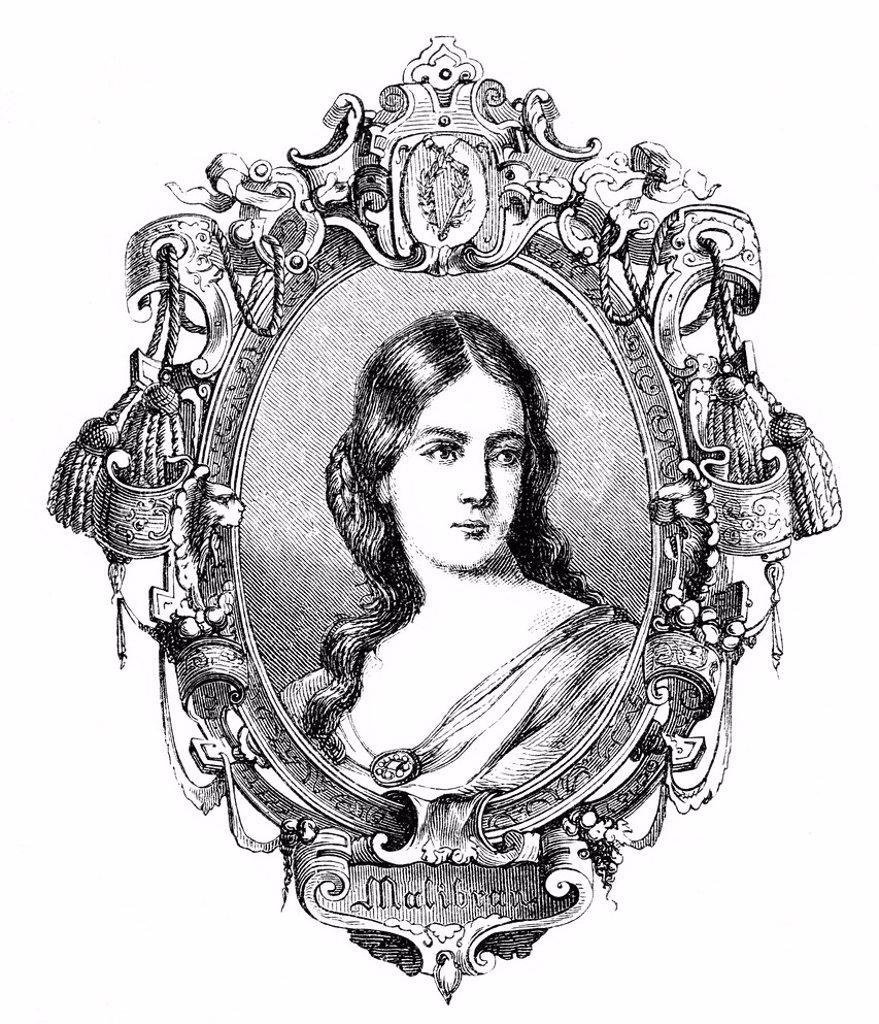 María de la Felicidad Malibran, née García, or La Malibran, 1808 _ 1836, French opera singer, mezzo_soprano, historic engraving from the book of memorable women, ´Buch denkwuerdiger Frauen´, published by Otto Spamer, 1877 : Stock Photo
