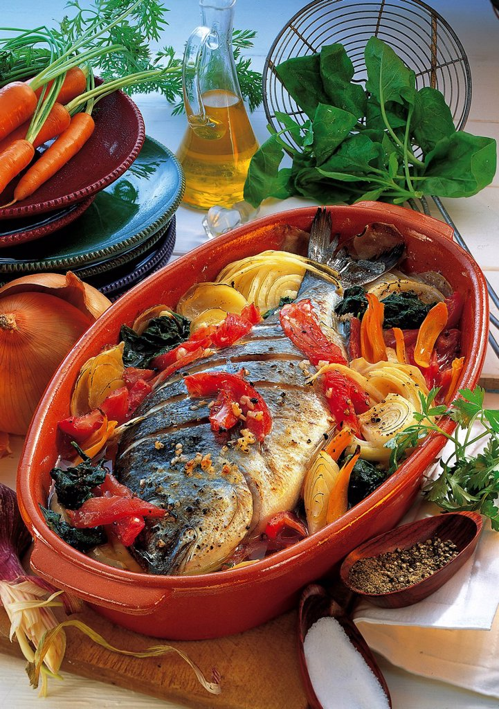 Stock Photo: 1848-578307 Bream with vegetables, Spain, recipe available for a fee