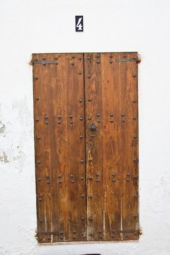 Old entrance door in the old town of Eivissa, Ibiza, Baleares, Spain : Stock Photo