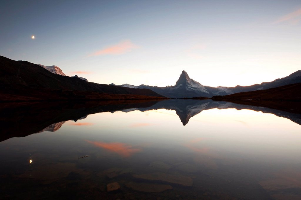 Stock Photo: 1848-578428 Dusk at Stellisee Lake overlooking Mt Matterhorn, Zermatt, Valais, Swiss Alps, Switzerland, Europe, PublicGround