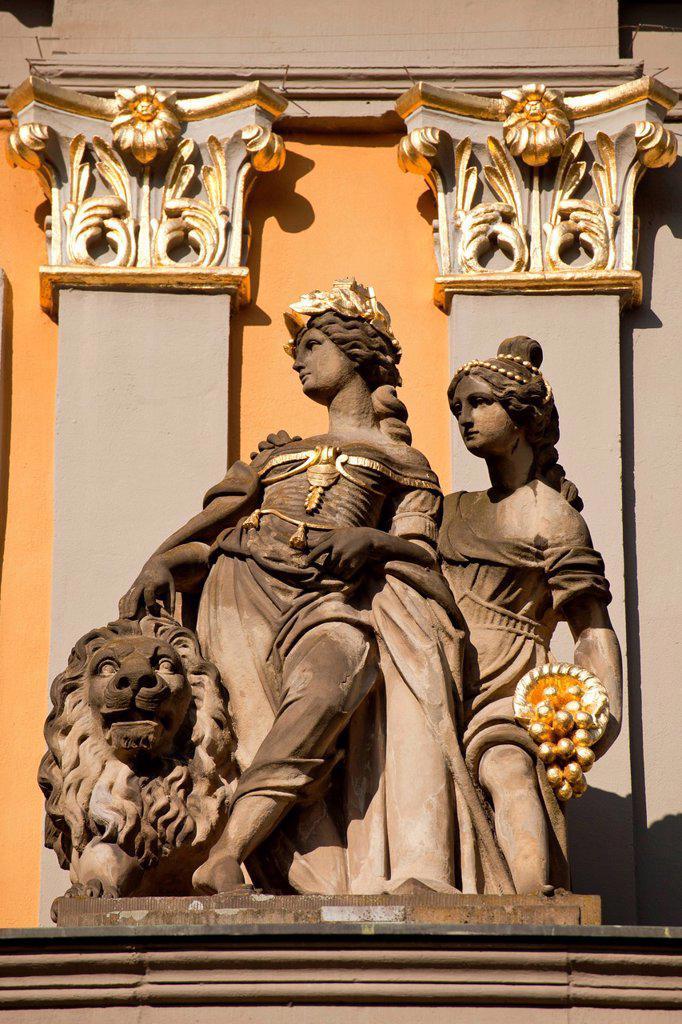 Statues on the Koblenzer Tor gate, Bonn, North Rhine_Westphalia, Germany, Europe : Stock Photo