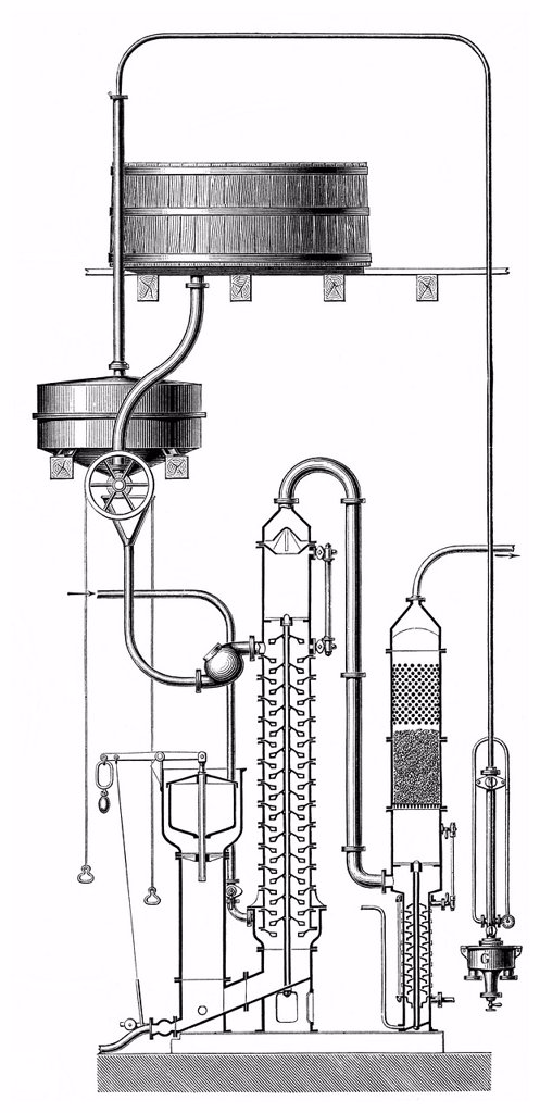 Stock Photo: 1848-579143 Historical graphic representation, distillation apparatus by Ilges, 19th Century, from Meyers Konversations_Lexikon encyclopaedia, 1890