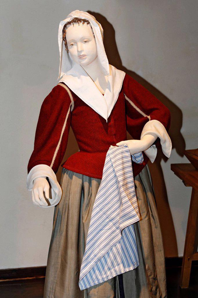 Stock Photo: 1848-579344 Historic maid with hood, mannequin, Museum Kasteel Hoensbroek, Limburg, The Netherlands, Europe