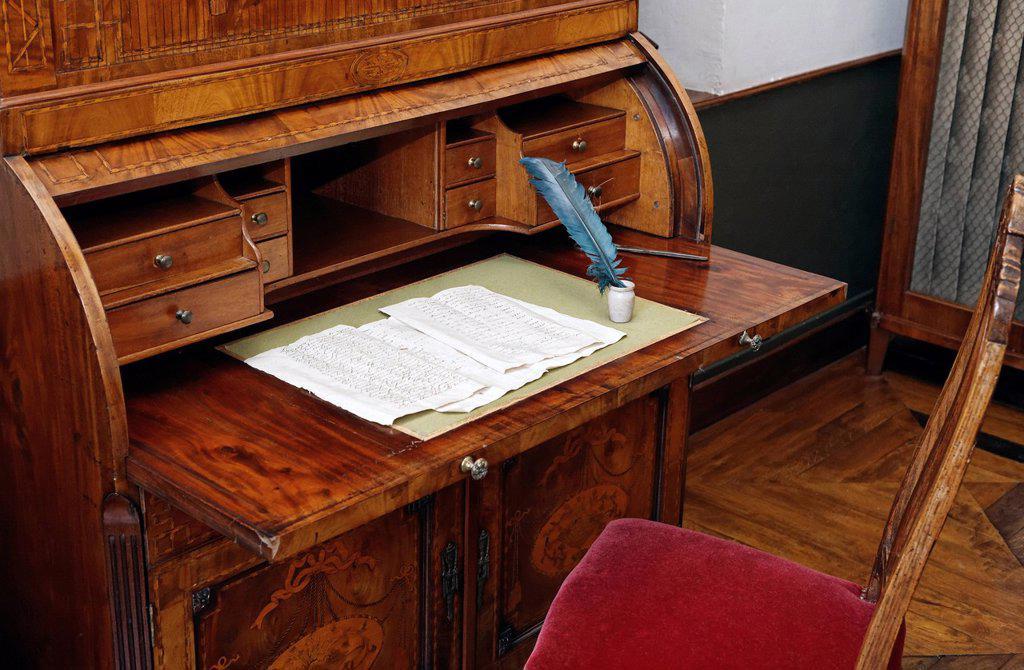 Hand_written letter on a historic writing desk, Museum Kasteel Hoensbroek, Limburg, The Netherlands, Europe : Stock Photo